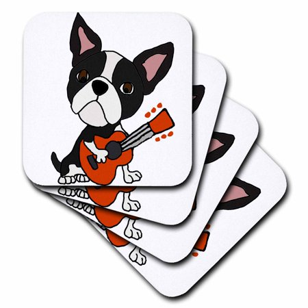 3dRose Funny Cute Boston Terrier Puppy Dog is Playing the Guitar - Soft Coasters, set of 8 Toy Boston Terriers