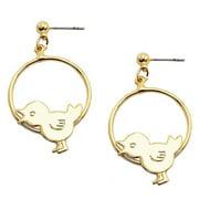 Gold tone Bird Hoop Earrings Bird & clip