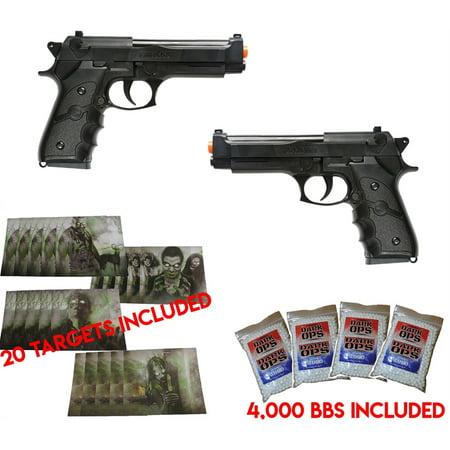 DUAL AIRSOFT SPRING PISTOLS M9 92 6MM BERETTA FULL SIZE W/ BBS & TARGETS 9 Mm Beretta Pistol