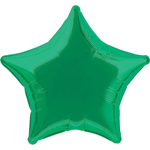 Foil Balloon, Star, 20 in, Green, 1ct