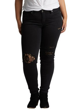 Silver Jeans Co. Womens Denim Patchwork Skinny Jeans