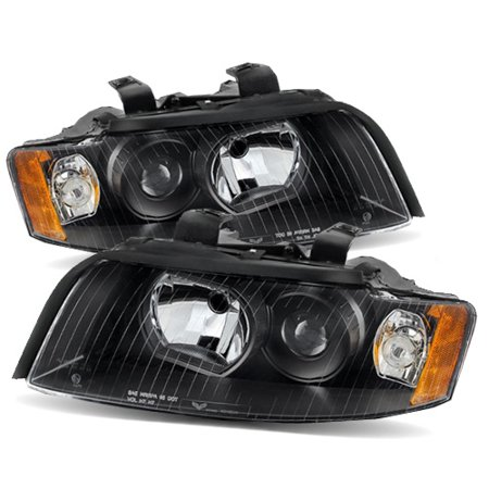 For 02-05 Audi A4/S4 Halogen Type Euro Black/Amber Projector Headlights  Lamps