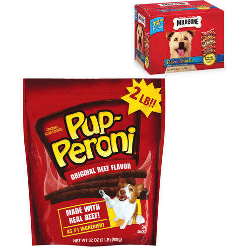 Pup-Peroni Original Beef Flavor Snacks and Milk-Bone Biscuits Value Bundle