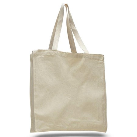Pack of 12 - Heavy Canvas Shopper Tote Bag Full Side and Bottom Gusset