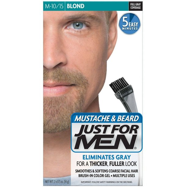 JUST FOR MEN Mustache & Beard Brush-In Color Gel, Blond M-10/15