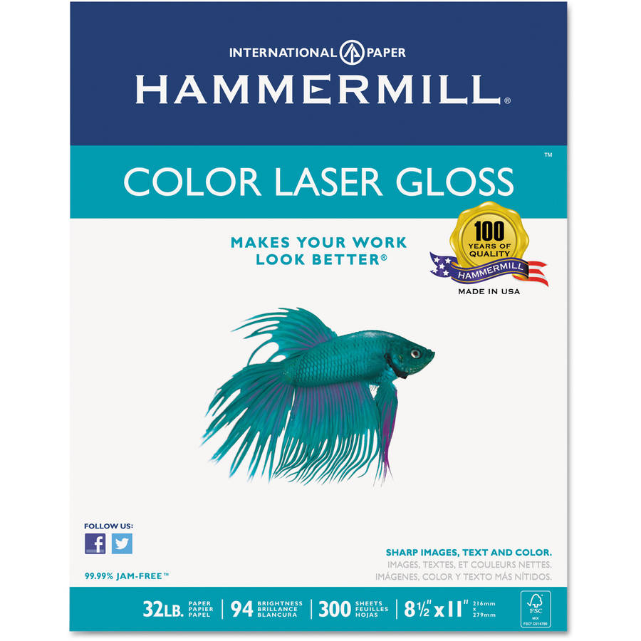 "Hammermill Color Laser Gloss Paper, 8-1/2"" x 11"", Pack of 300 Sheets"