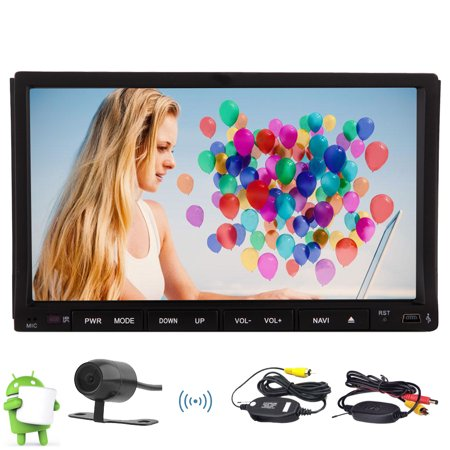 Android 7inch GPS Car Stereo Quad-core 6.0 Marshmallow Double din Car DVD Player with Sliding Multi-touchscreen Bluetooth GPS Sat Navi Head Unit support USB/SD FM/AM/RDS Wifi/4G/3G OBD Mirror link