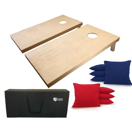 Tailgating Pros 4'x2' Cornhole Boards W Carrying Case and Red & Royal Bags