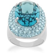 Blue Ring in Sterling Silver with Swarovski Elements, Size 7