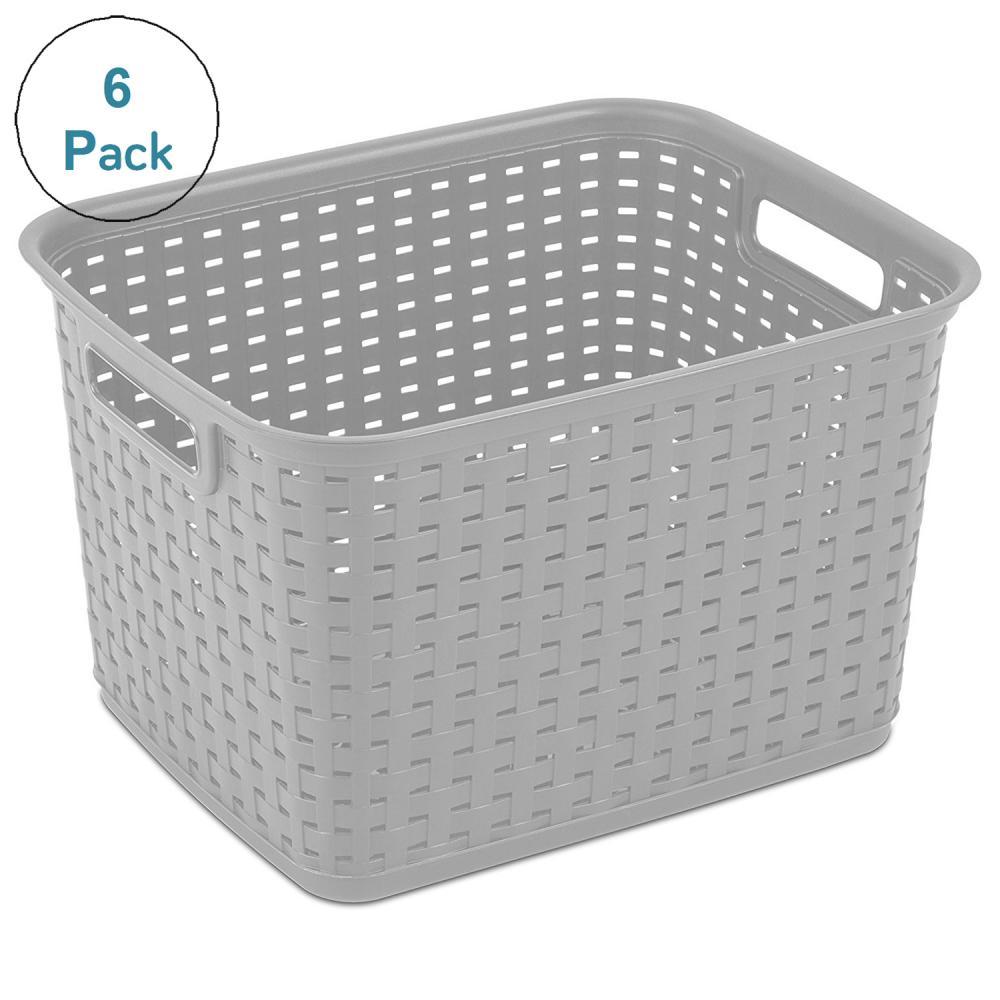 """Sterilite Tall Weave Storage Basket-15""""X12.25""""9.375"""" Cement"""