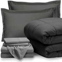 Bare Home 7-Piece Bed-In-A-Bag - Queen (Comforter Set: Gray, Sheet Set: Light Gray)