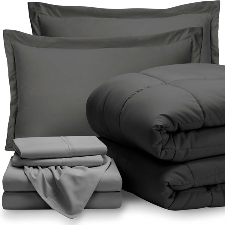 7-Piece Bed-In-A-Bag - Queen (Comforter Set: Gray, Sheet Set: Light Gray) ()