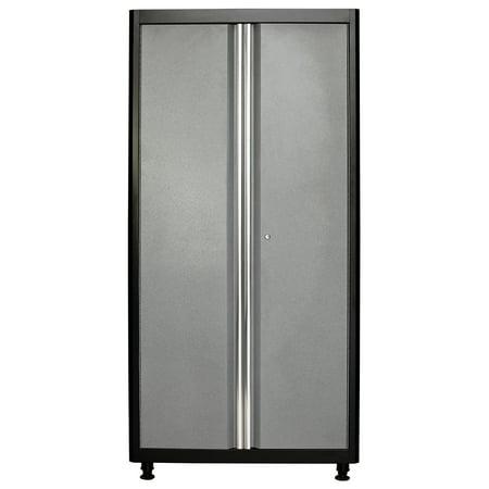 72 in. H x 36 in. W x 18 in. D Welded Steel Floor Cabinet in Black/Multi-Granite ()