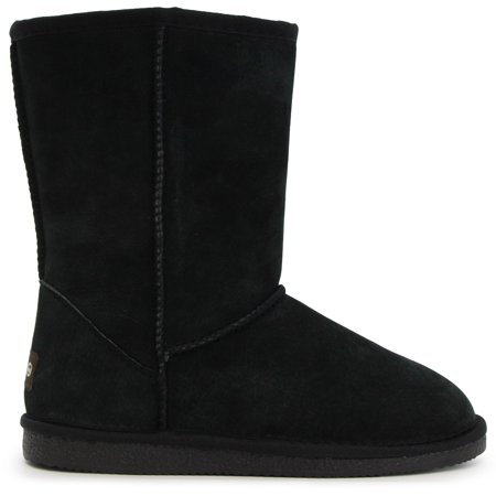 Lamo  Women's Black Suede and Faux Fur 9-inch Boots
