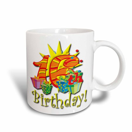 Design 24 Ounce Teapot - 3dRose Happy 16th Birthday Design , Ceramic Mug, 15-ounce