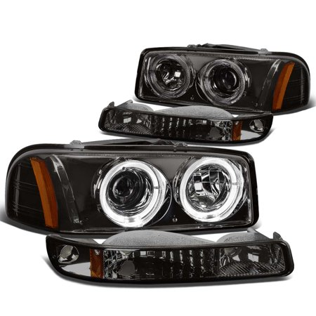 For 1999 to 2007 GMC Sierra / Yukon GMT800 Dual Halo Ring Projector Headlight+Bumper Lamp Smoked Housing Amber Corner 00 01 02 03 04 05 06 (Gmc Sierra Halo Projector)