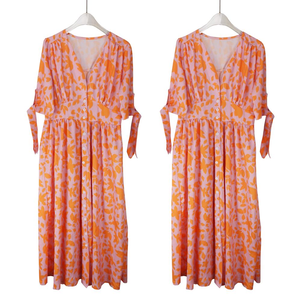 Women Boho Floral Short Sleeve Midi Dress Summer Beach Party Holiday Sundress