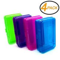 4PK Multipurpose School Pencil Box-Glitter Bright Color Box Pencil Case w/ Snap