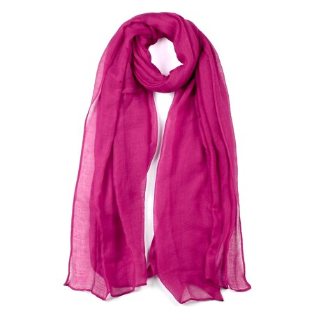 Long Warm Shawl Large Soft Solid Color Scarf for Women Men Fuchsia-2 - image 1 of 1
