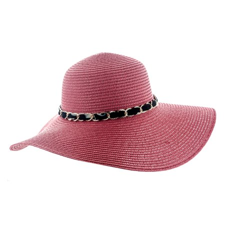 801435c09e4 Faddism Womens Woven Sun Hat With Chain Hatband - Walmart.com