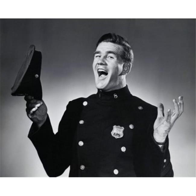 Posterazzi SAL2556100 Portrait of a Police Officer Holding a Uniform Cap & Laughing Poster Print - 18 x 24 in. - image 1 de 1