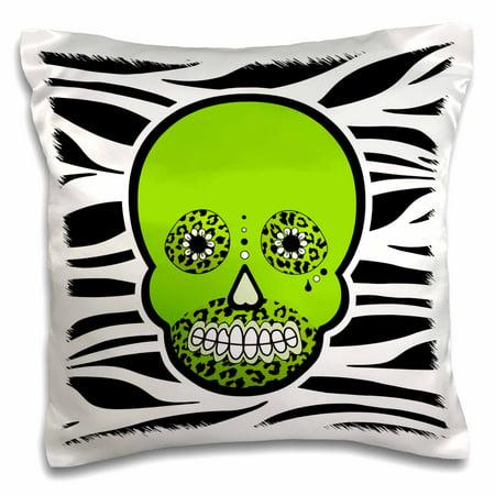 Green Zebra Animal Print - 3dRose Day of the Dead Skull - Da de los Muertos - Zebra and Leopard Animal Print - Green, Pillow Case, 16 by 16-inch