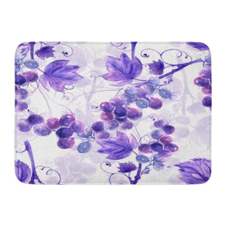 GODPOK Purple Vine Blue Vintage Watercolor Grape Pink Branch Dark Rug Doormat Bath Mat 23.6x15.7 (Grape Branch)