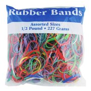 BAZIC Rubber Bands, Assorted Size 1/2 Lbs. Made in USA, Elastic Stretchable Bands for Bank Paper Bills Money Dollars, Colors Sizes May Vary, 1-Pack
