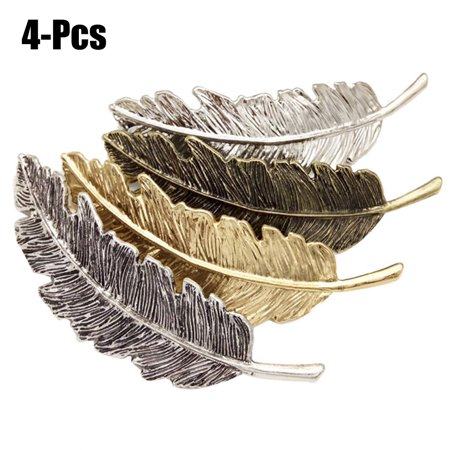 4Pcs Hair Clips set, Coxeer Fashionable Decorative Feather Shaped Retro barrettes Metal Hair Accessories for Women Girls](Hair Clip)