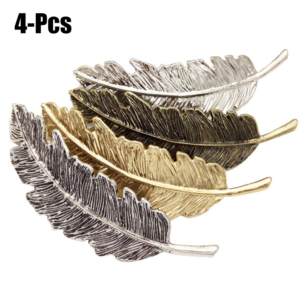 4Pcs Hair Clips set, Coxeer Fashionable Decorative Feather Shaped Retro barrettes Metal Hair Accessories for Women Girls