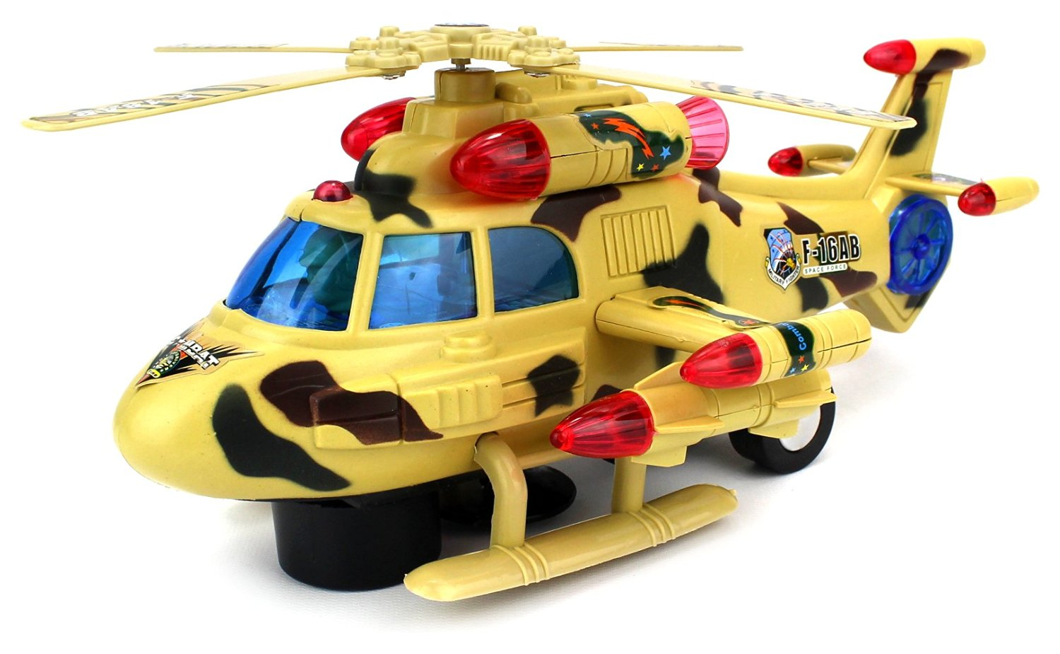 Velocity Toys Sky Pilot Battery Operated Bump and Go Toy Helicopter w  Flashing Lights,... by Velocity Toys