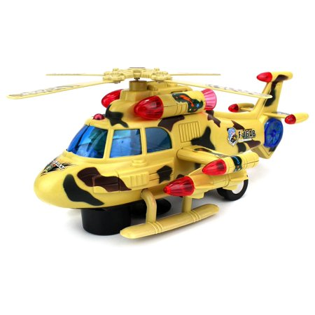 Velocity Toys Sky Pilot Battery Operated Bump And Go Toy Helicopter W  Flashing Lights  Sounds
