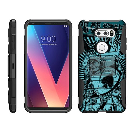 TurtleArmor ® | For LG V30 / LG V30+ / LG V30 Plus [Hyper Shock] Rugged Dual Layer Hybrid Armor Kickstand Holster Belt Clip Case - Ace of Spades Art