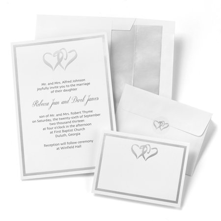 Hortense B Hewitt Wedding Accessories Silver Double Heart Invitation Kit Package Of 50 Invitations