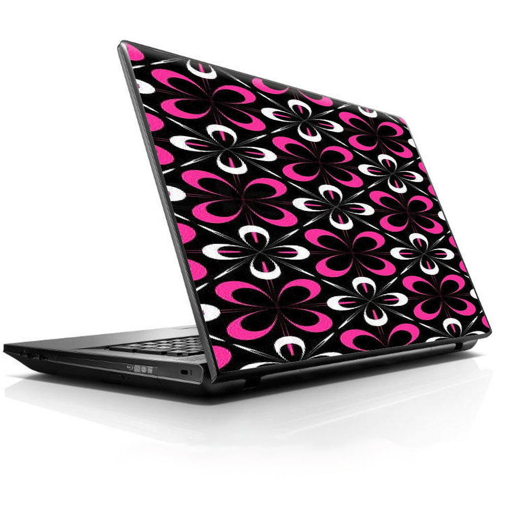 """Laptop Notebook Universal Skin Decal Fits 13.3"""" To 16"""" / Abstract Pink Black Pattern"""