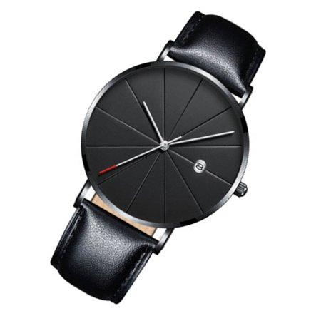 Brand New Fashion Simple Watch Calendar Slim Men'S Business Belt Watch Quartz Watch - image 2 de 6