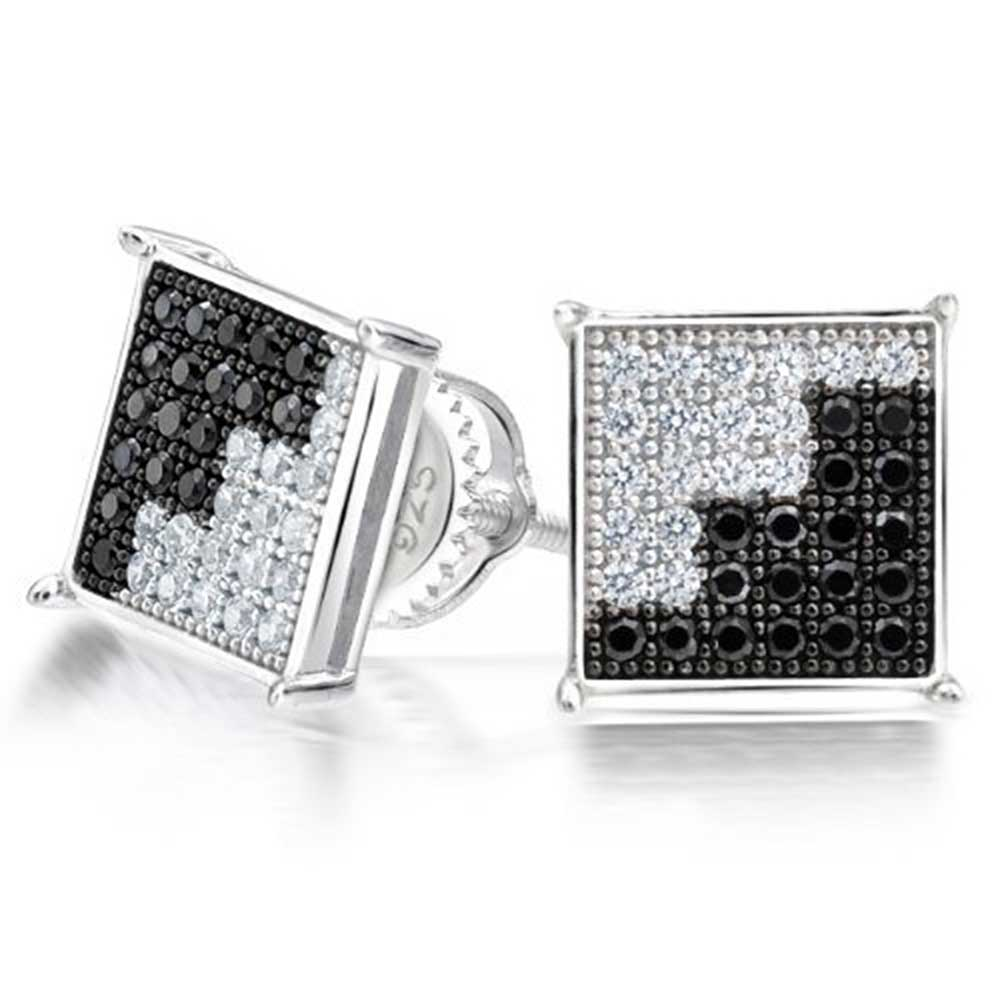 bling jewelry black and white cz unisex square stud