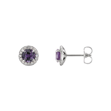 Jewels By Lux Set 14k White Gold Chatham Lab-Created Alexandrite 3.5 mm Pair Polished Alexandrite And 1/8 CTW Diamond Earrings W/Backs
