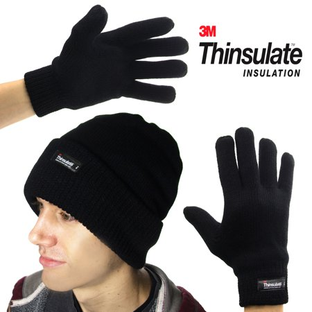 82fbd3db7df79c 3M - 3M Men's Thinsulate 40g Black Beanie Hat & Gloves Fleece Lining For  Winter Snow Cold Weather Gear - Walmart.com