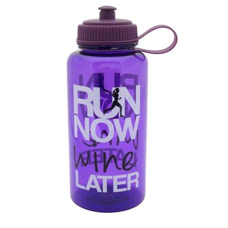 32Oz Attitude Water Bottle  Purple   Run Now Wine Later
