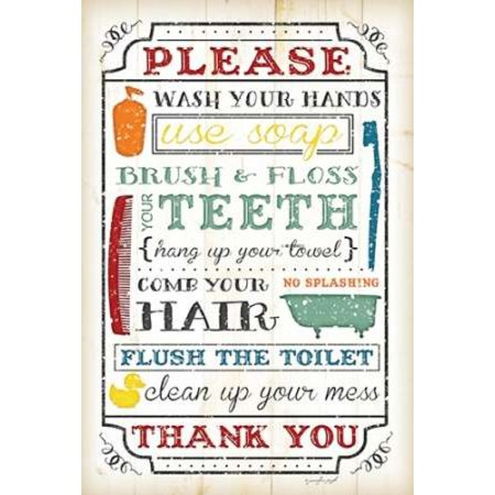 Bathroom Rules Poster Print By Jennifer Pugh