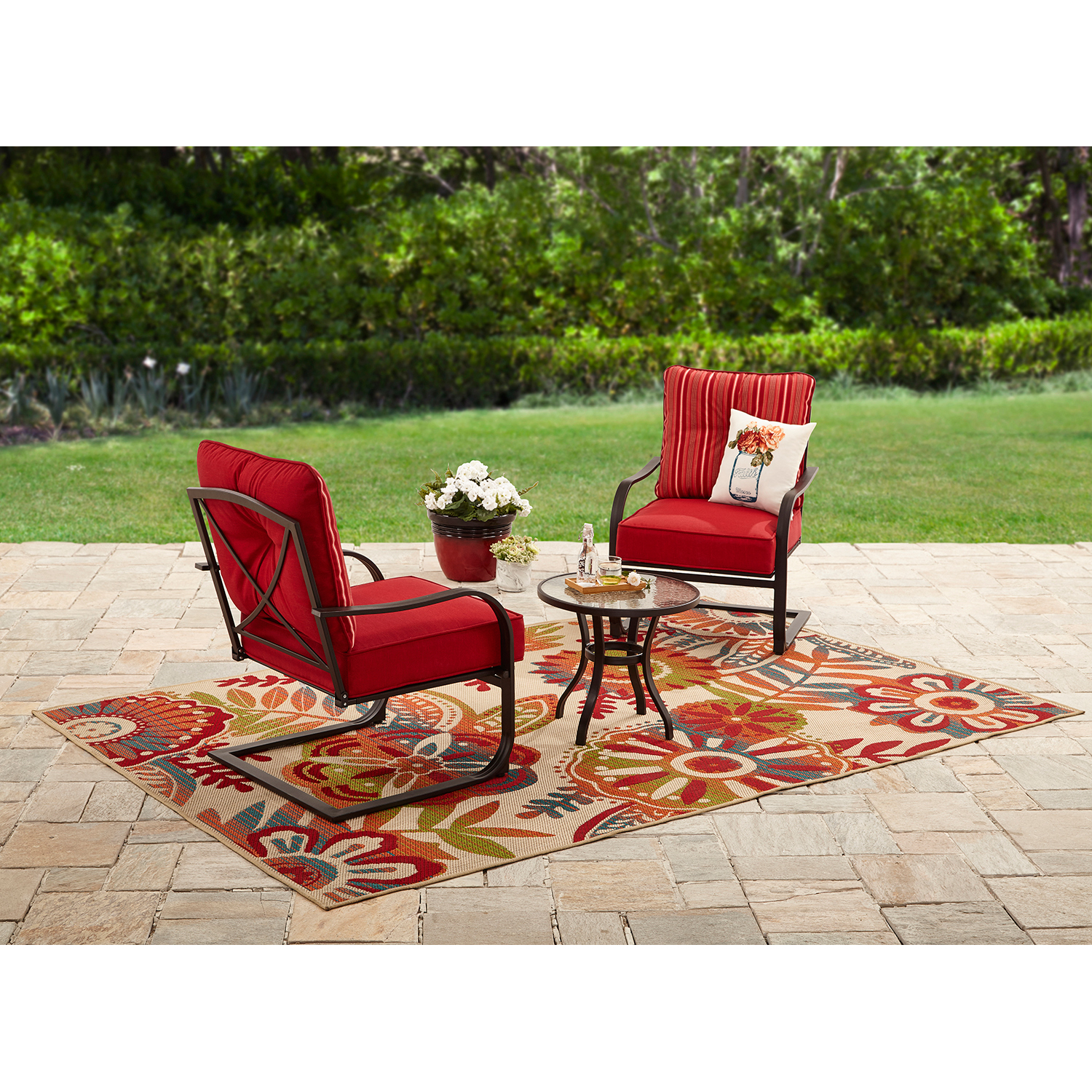 Mainstays Forest Hills 3pc Outdoor Chat Set, Seats 2, Tan