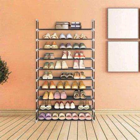 Zimtown 10 Tier Shoe Rack Wall Tower Cabinet Storage Organizer Black Home Holder Shelf