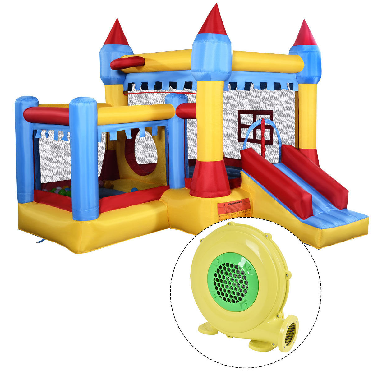 Costway Inflatable Bounce House Castle Commercial Kids Jumper Moonwalk With Ball&Blower