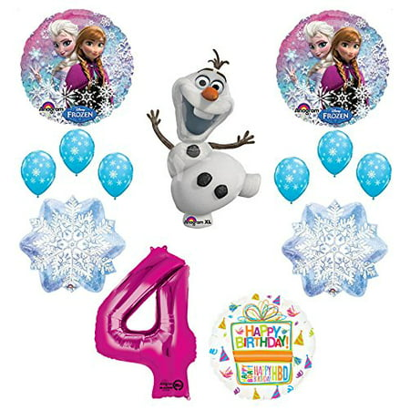 Frozen 4th Birthday Party Supplies Olaf, Elsa and Anna Balloon Bouquet Decorations Pink #4 - Cheap Party Supply Stores