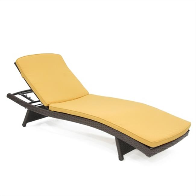 Jeco Inc. Adjustable Wicker Chaise Lounge with Cushion
