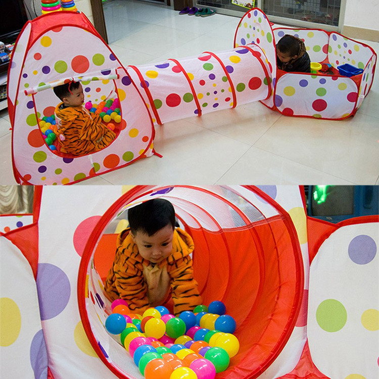 Play Tents and Tunnels 3 In 1 Indoor/Outdoor Kids Pop Up Play House Tents Tunnel Ball Pit Playhouse