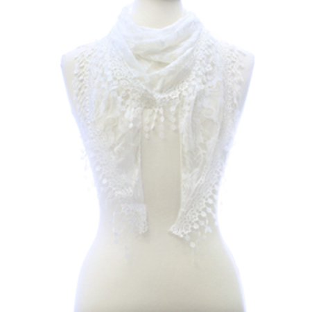 - Lovely Rose Lace Triangle Scarf With Delicate Lacy Circle Fringe Tassels - White