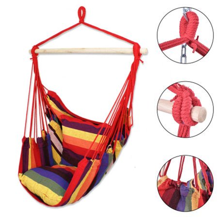Ubesgoo Hanging Rope Hammock Chair Swing Seat For Any Indoor Or
