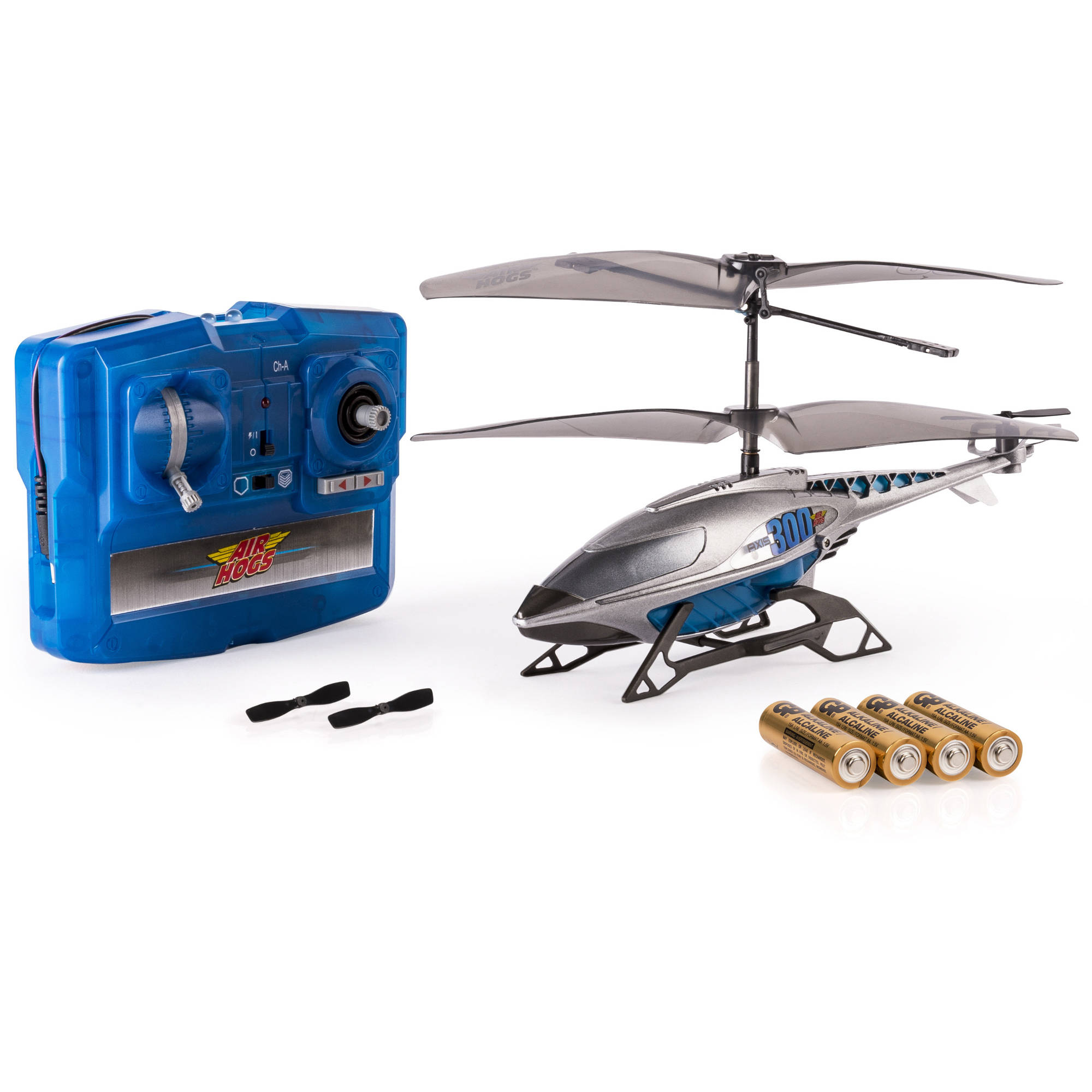 Air Hogs, Axis 300x RC Helicopter With Batteries Silver & Blue by Spin Master Ltd